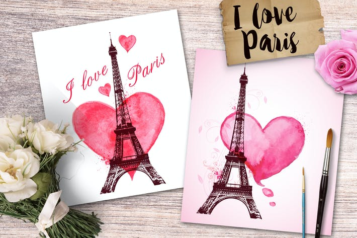Cover Image For I Love Paris. Romantic cards.