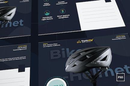 Bike Helmet Postcard PSD Template
