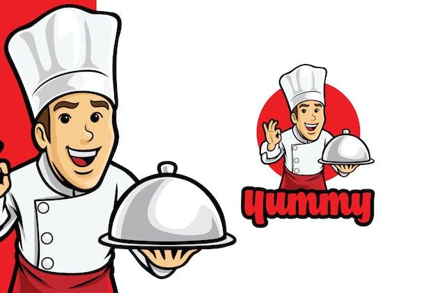 Happy Yummy Chef Logo Template