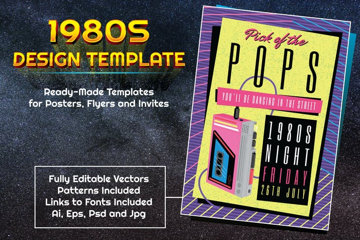 Thumbnail for 1980s Pop Music Themed Design Template