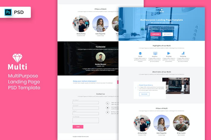 Thumbnail for Multipurpose - Landing Page PSD Template-03
