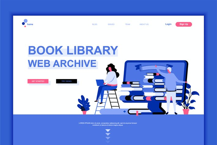 Thumbnail for Book Library Flat Landing Page Template