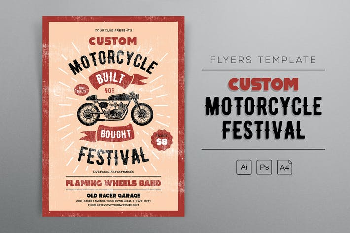 Thumbnail for Custom Motorcycle Festival Flyers Template