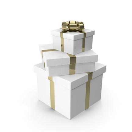 Baum weiße Geschenkboxen mit goldener Schleife