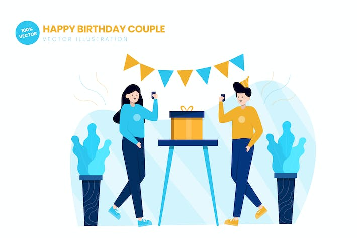 Thumbnail for Happy Birthday Couple Flat Vector Illustration