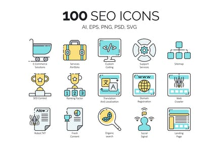 100 Íconos SEO & Marketing en Internet