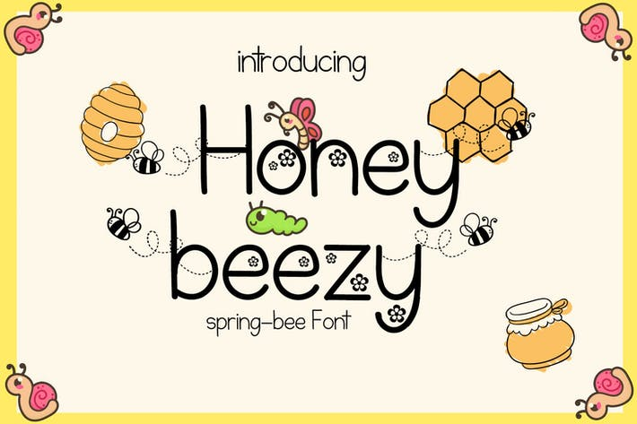 Thumbnail for Honey Beezy - Spring Bee Font