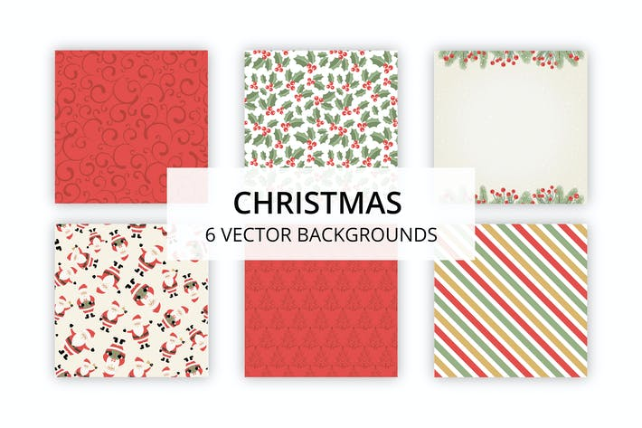 Cover Image For 6 Vector Christmas Backgrounds