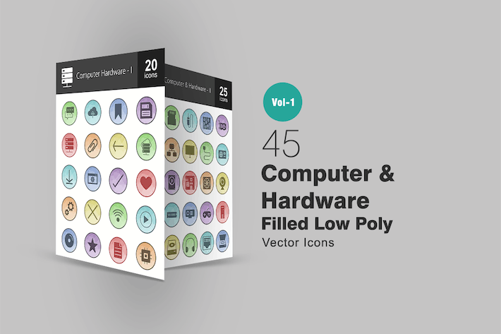 Thumbnail for 45 Computer & Hardware Filled Low Poly Icons