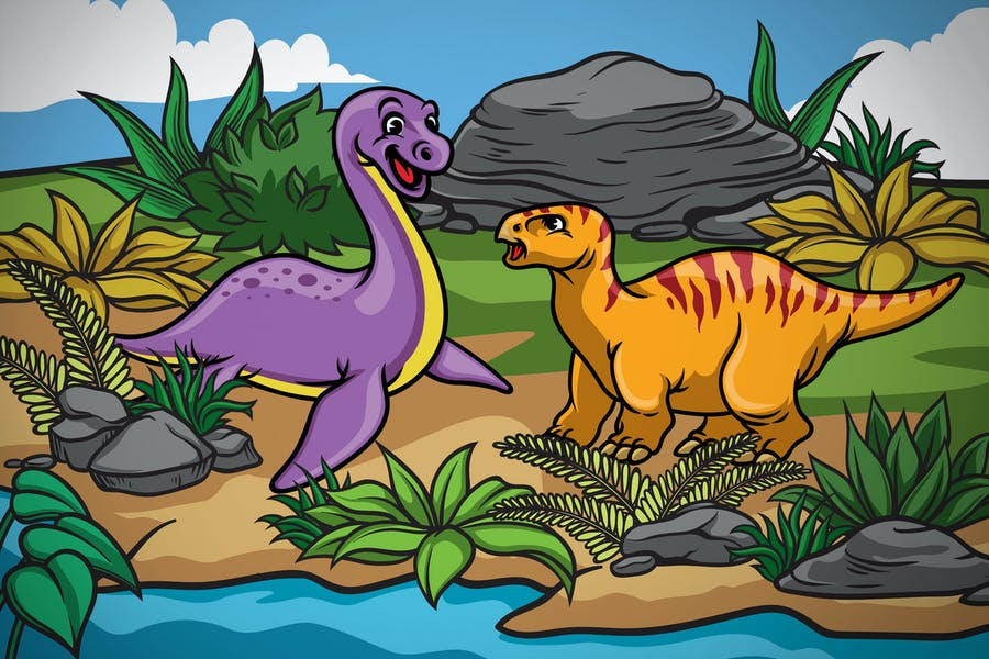 happy dinosaurs kids in the nature