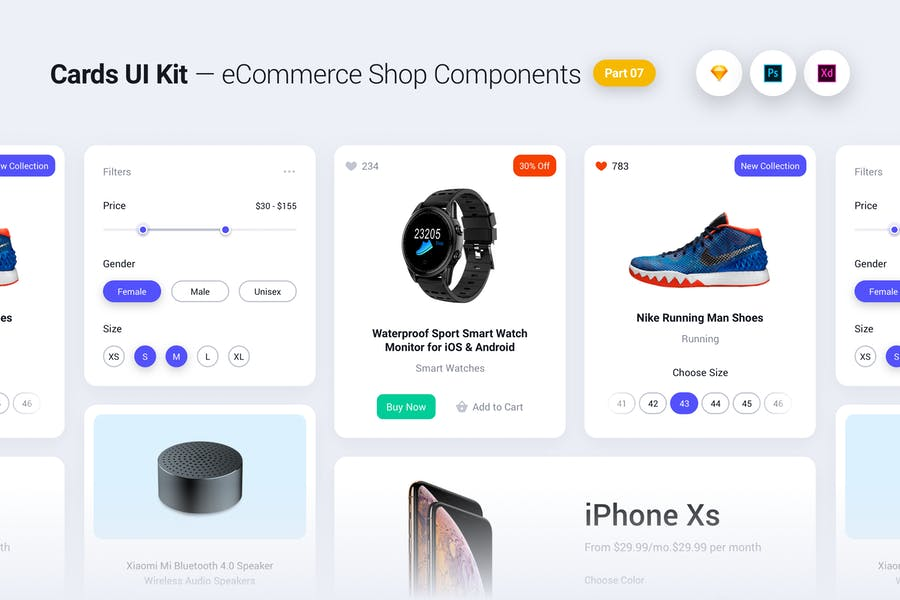 Cards UI Kit - eCommerce Shop Widgets & Components
