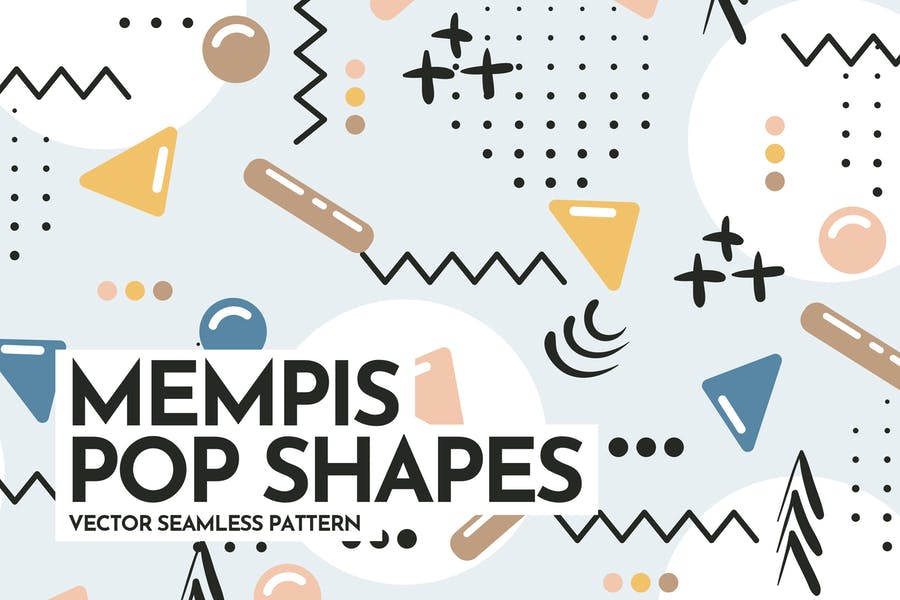 Memphis Pop Shapes Seamless Patterns