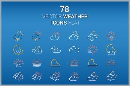 78 Vektor-Icons Wetter Flat