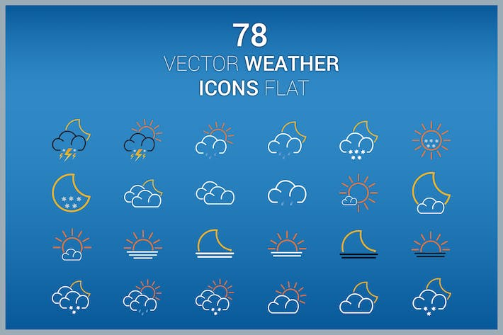 Thumbnail for 78 Vector Icons Weather Flat