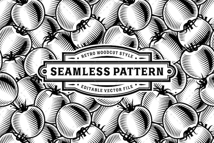 Thumbnail for Seamless Tomato Pattern Black And White