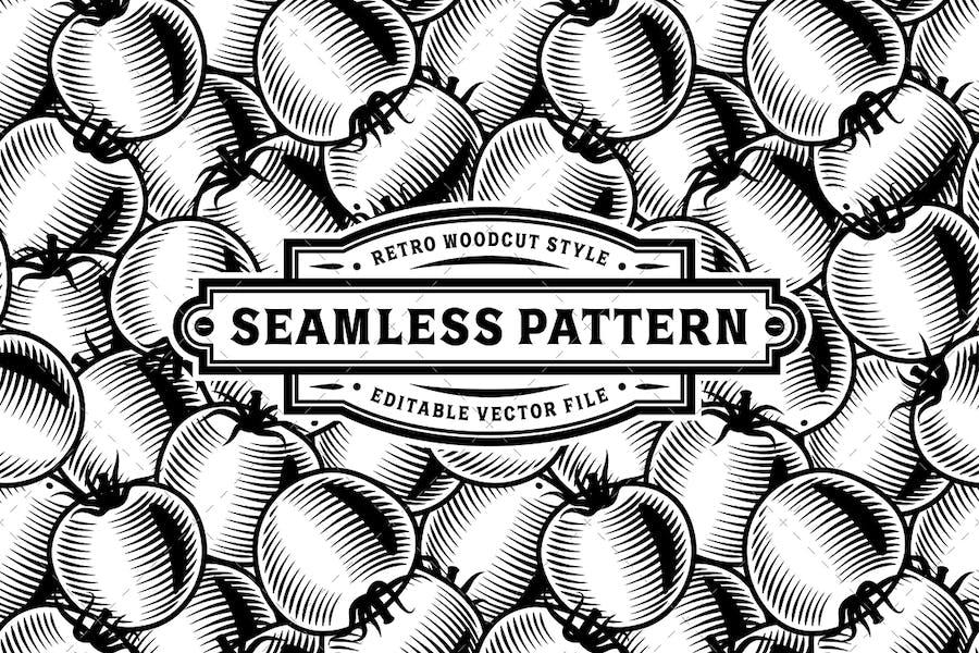 Seamless Tomato Pattern Black And White