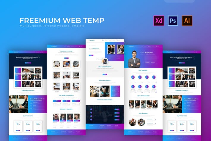 Thumbnail for Freemium | PSD Web Template