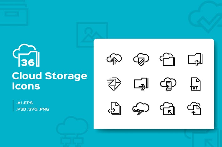Thumbnail for 36 Cloud Storage Line Icons