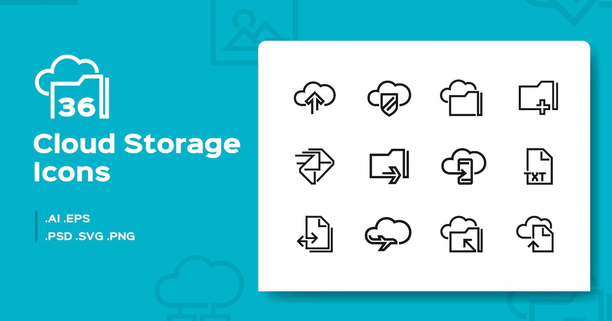36 Cloud Storage Line Icons by iconsoul
