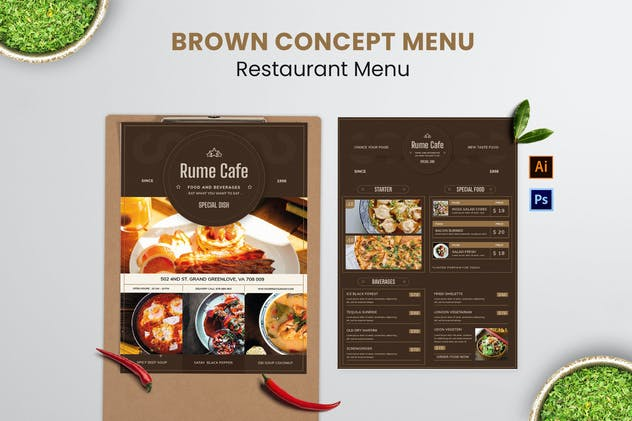 Brown Concept Food Menu