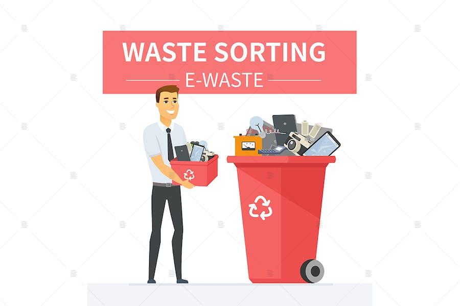 E-Waste Recycling - Cartoon Illustration