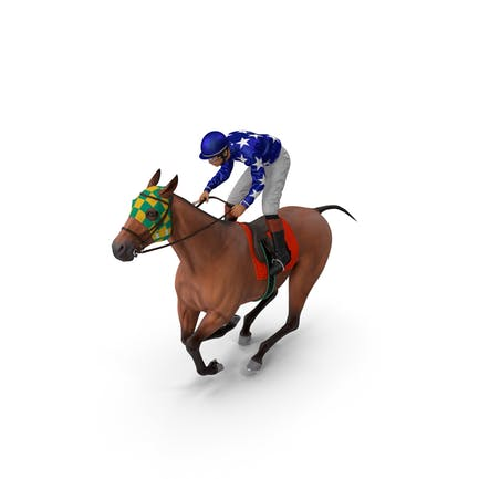 Bay Racing Horse with Jokey Gallop