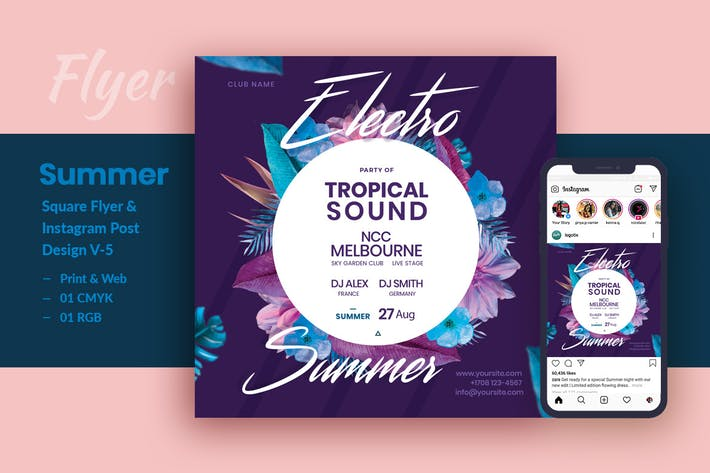 Cover Image For Electro Summer Party Flyer & Instagram Post V-5
