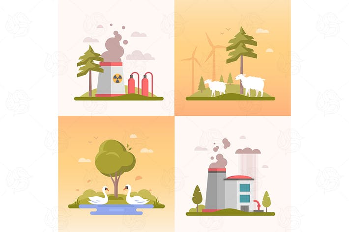 Thumbnail for Eco lifestyle - set of  flat design style banners