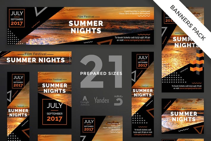 Thumbnail for Summer Film Festival Banner Pack Template