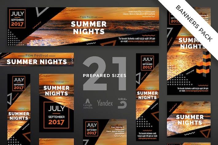 Cover Image For Summer Film Festival Banner Pack Template