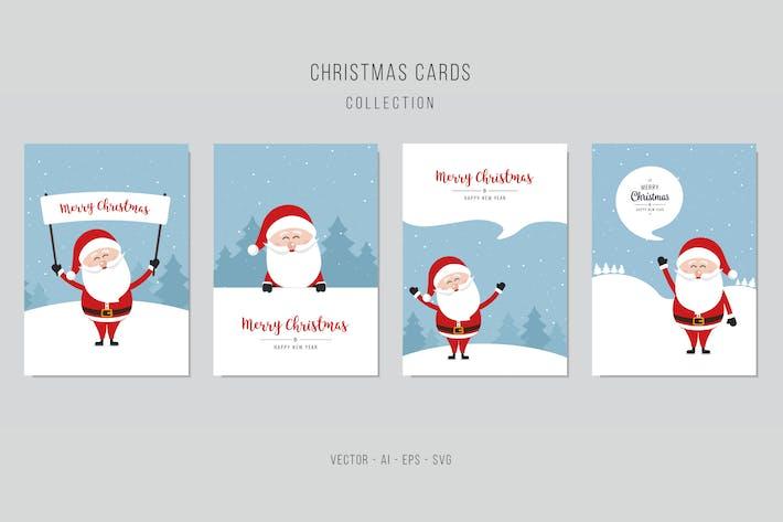 Thumbnail for Christmas Santa Claus Vector Card Set. vol.1