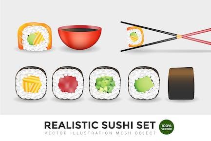 Realistic Sushi Set Vector Mesh Illustration