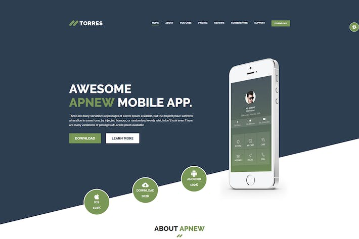 Thumbnail for Torres – React App Landing Page Template