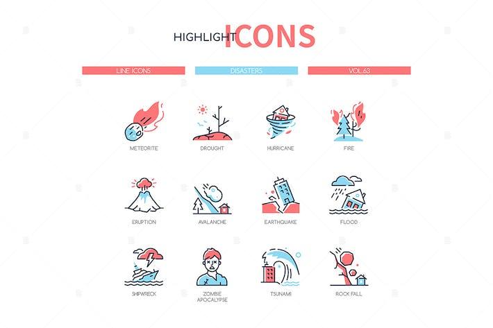 Thumbnail for Katastrophen - moderne Linie Design Stil Icons gesetzt