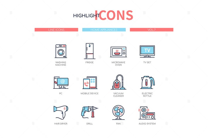 Home appliances - line design style icons set