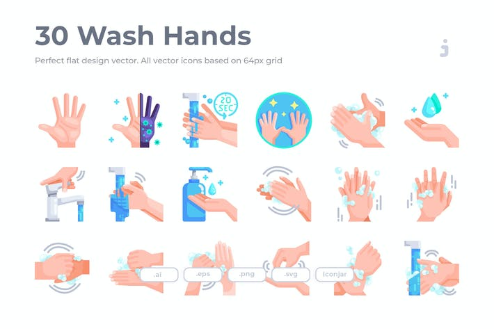 Thumbnail for 30 Wash Hands Icons - Flat