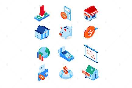 Economic crisis - modern colorful isometric icons