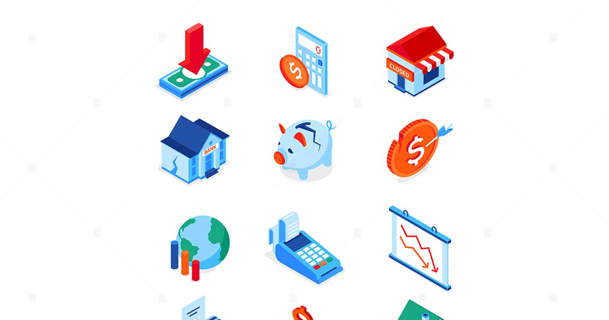Download Economic crisis - modern colorful isometric icons by BoykoPictures