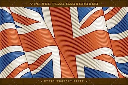 Vintage Flag Of United Kingdom. Closeup Background