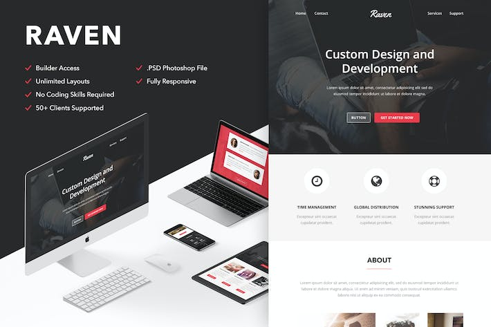 Thumbnail for Raven - Responsive Email + Themebuilder Access