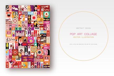 Musical Pop Art collage vector illustration
