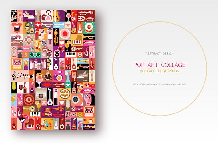 Thumbnail for Musical Pop Art collage vector illustration