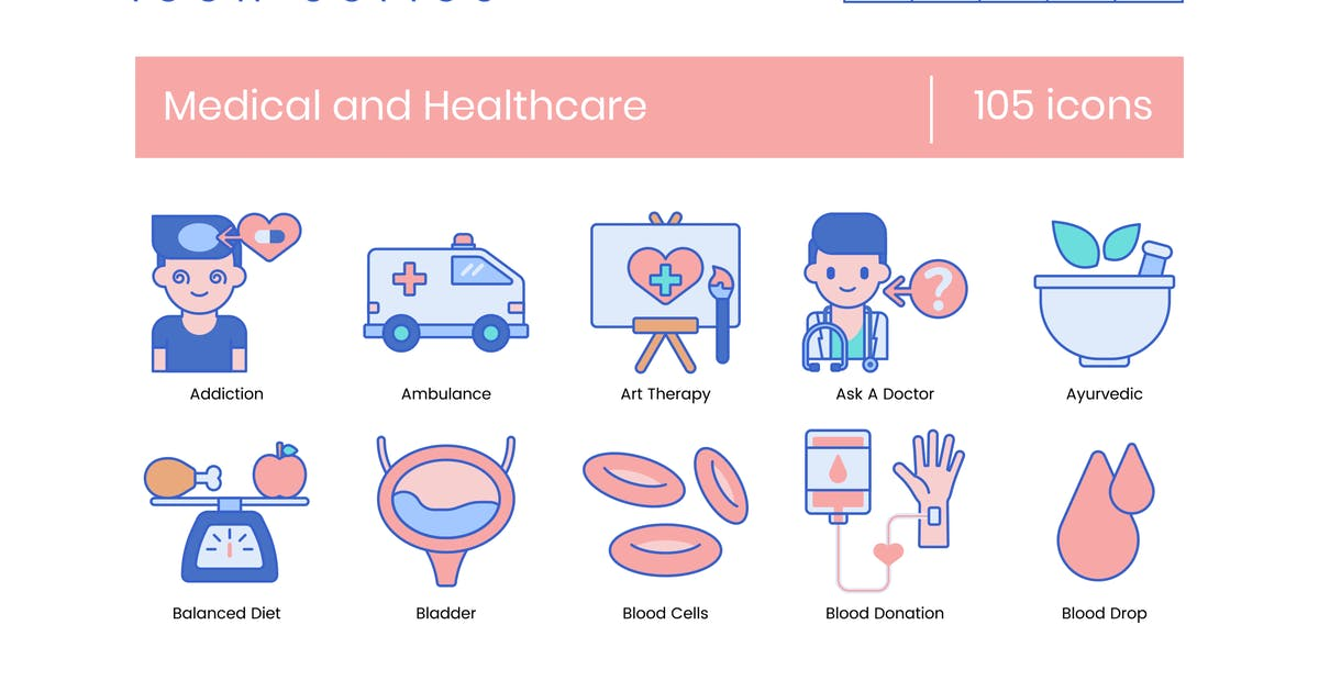 Download 105 Medical & Healthcare Line Icons by Krafted