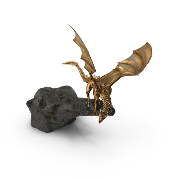 Golden Dragon On Rock
