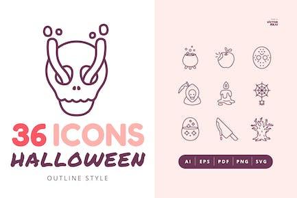 Набор Иконки к стиля 36 Хэллоуина