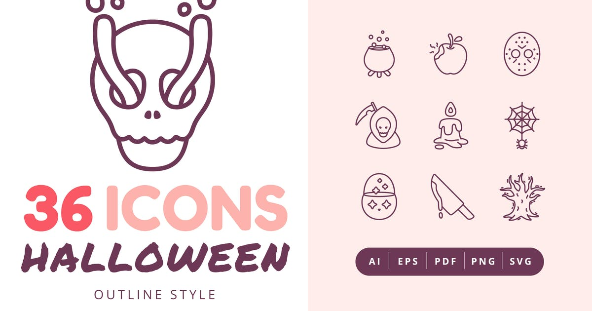 Download 36 Halloween Outline Style Icons Pack by Victoruler