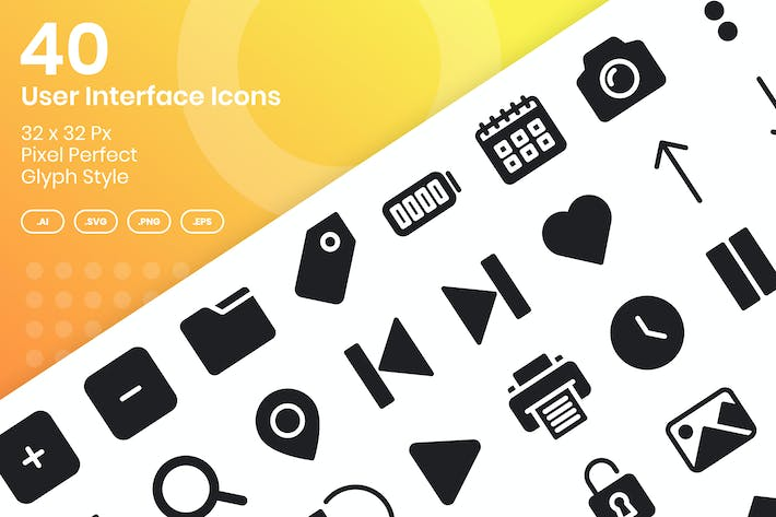 Thumbnail for 40 User Interface Icons Set - Glyph