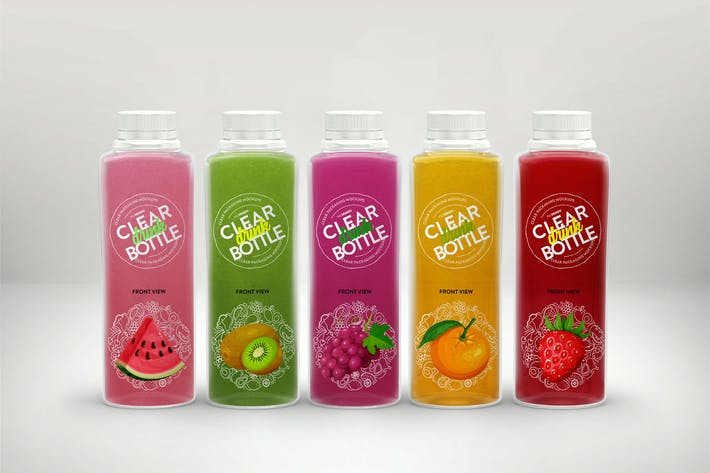 Thumbnail for Clear Juice Bottle Set Packaging MockUp