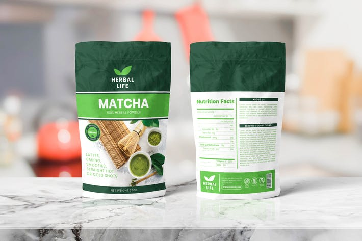 Thumbnail for Herbal Food Pounch Bag Packaging Template