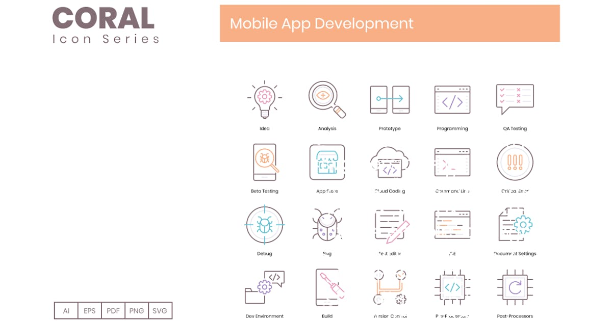 Download 100 Mobile App Development Line Icons by Krafted